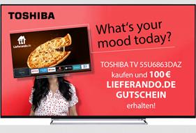 Bild zu TOSHIBA 55 U 6863 DAZ UHD TV (Flat, 55 Zoll/139 cm, UHD 4K, SMART TV) + 100€ Lieferando Gutschein für 431,10€