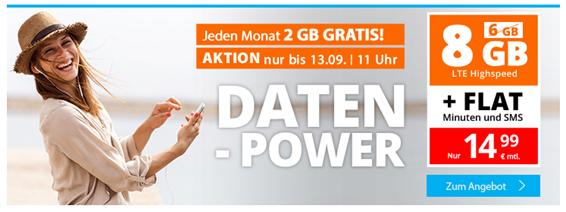 Bild zu SIM.de monatlich kündbaren Vertrag im o2-Netz mit 8GB LTE Datenflat, SMS und Sprachflat für 14,99€/Monat