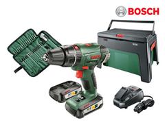 Bild zu Bosch Schlagbohrschrauber PSB-18 LI-2 inkl. 2x 2,5 Ah Akkus, Werkzeugbox und 39 teiligem Zubehörset für 155,90€ (Vergleich: 179,10€)