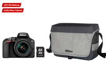 Bild zu NIKON D3500 Spiegelreflexkamera, 24.2 Millionen Pixel, 18-55 mm Objektiv, Schwarz + Kameratasche ab 299€ (VG: 408,86€)