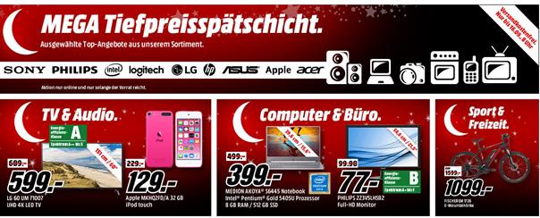 Bild zu Mega Tiefpreisspätschicht bei MediaMarkt mit Angeboten von Apple, Sony, Philips und Co.