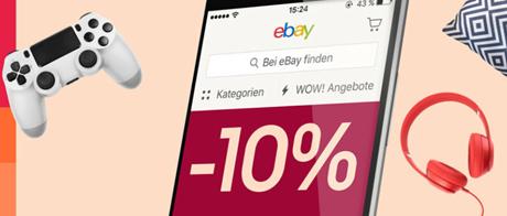 Bild zu [Super – nur heute] eBay-App: 10% Rabatt auf ALLES