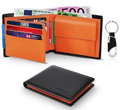 Bild zu Herren Portemonnaie aus Echtem Leder (RFID-Schutz, Münzfach, Platz für 10 Karten) inkl. Schlüsselanhänger für 13,19€