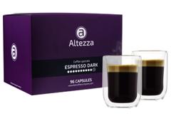Bild zu Altezza Kapseln Espresso Dark Roast für Nespresso (96 Kapseln) + 2 doppelwandige Kaffeegläser (260 ML) für 19,99€