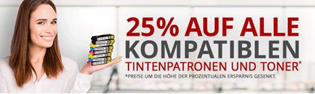 Bild zu Druckerzubehör.de: 25% Rabatt auf alle kompatiblen Tintenpatronen und Toner