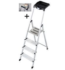 Bild zu Krause 4 Stufen-Stehleiter Secury mit MultiGrip-System (inkl. 8 l System-Eimer) für 59,99€ (Vergleich: 79€)