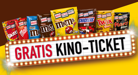 Bild zu M&Ms, Mars, Snicker und Co. für 10€ kaufen + gratis Kinoticket erhalten