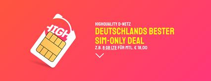 Bild zu [Preise reduziert] Sparhandy HIGH! Sim-Only Tarife, so z.B. Allnet Flat inkl. SMS Flat und 8GB LTE Datenflat im Telekom-Netz für 16€/Monat