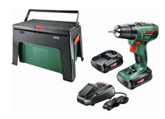 Bild zu Bosch Home and Garden Akku-Bohrschrauber 18V inkl. 2 Li-Ion Akkus 1.5Ah + Workbox für 94€ (Vergleich: 119€)