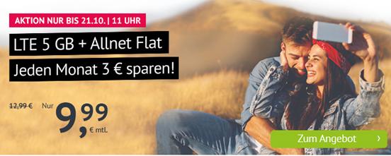 Bild zu 5GB LTE Datenflat + Allnet Flat im o2 Netz für 9,99€/Monat