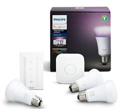 Bild zu Philips Hue White and Color Ambiance Starter Kit E27 (3 Lampen, Bridge + Schalter) für 103,03€ (VG: 143,99€)