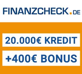 Bild zu Finanzcheck.de: 400€ Bonus für Kredite ab 20.000€