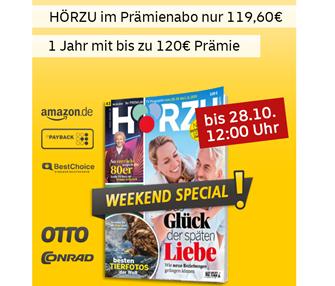 Bild zu [noch bis 12 Uhr] Deutsche Post: Jahresabo Hörzu für 114,60€ + bis zu 120€ Prämie