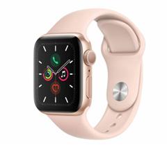 Bild zu Apple Watch Series 5, 40 mm, Aluminiumgehäuse gold, Sportarmband sandrosa für 399,90€ (VG: 435,68€)