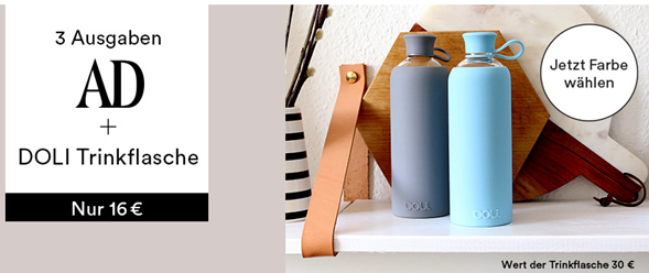 Bild zu 3 Ausgaben AD + Doli Trinkflasch (Vergleich: 29,50€) für 16€