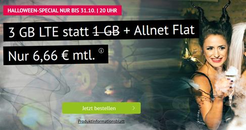 Bild zu [bis 20 Uhr] 3GB LTE Datenflat + Allnet Flat im o2 Netz für 6,66€/Monat – monatlich kündbar