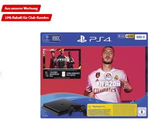 Bild zu SONY Playstation 4 500GB Jet Black: EA Sports Fifa 20-Bundle für 224,10€ (VG: 280,44€)