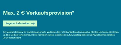 Bild zu [wieder da] eBay: Für viele eBay Mitglieder – keine Angebotsgebühr und maximal 2€ Verkaufsprovision
