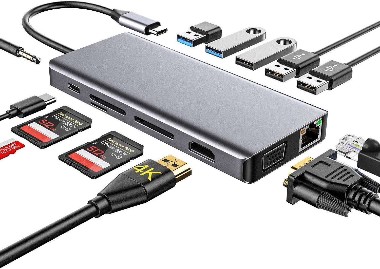 Bild zu 13 in 1 USB-C Hub mit HDMI-Ausgang, Kartenleser und USB Ports für 37,48€
