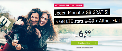 Bild zu 3GB LTE Datenflat + Allnet Flat im o2 Netz für 6,99€/Monat