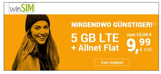 Bild zu WinSIM: monatlich kündbaren Vertrag im o2-Netz mit 5GB LTE Datenflat, SMS und Sprachflat für 9,99€/Monat