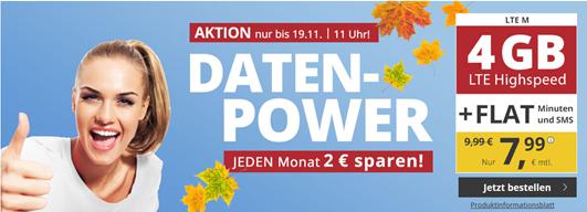 Bild zu PremiumSIM monatlich kündbaren Vertrag im o2-Netz mit 4GB LTE Datenflat, SMS und Sprachflat für 7,99€/Monat