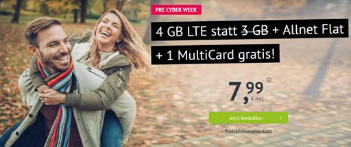 Bild zu [bis 11 Uhr] Handyvertrag.de: 4GB LTE Datenflat + Allnet Flat im o2 Netz für 7,99€/Monat – monatlich kündbar & keine Anschlussgebühr