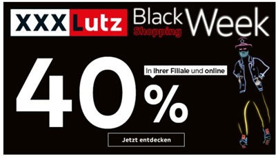 Bild zu XXXLutz: 40% Rabatt in allen Abteilungen in der Black Shopping Week