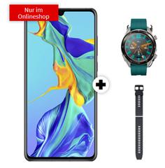 Bild zu HUAWEI P30 Dual SIM inkl. Displayschutzglas & Huawei Watch GT Active & Huawei Silikon Armband für 1€ mit o2 Tarif (5GB LTE Datenflat, SMS und Sprackflat) für 19,99€/Monat