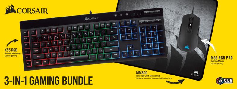 Bild zu Corsair 3in1 Gaming Bundle mit Gaming-Tastatur K55, Gaming-Maus M55 RGB Pro und Mauspad MM300 für 79€ (Vergleich: 124,95€)