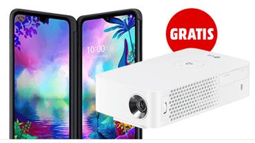 Bild zu LG G8X Thinq Dual SIM Smartphone für 49€ (VG: 785€) mit gratis LG Mini Beamer (VG: 319€) im Telekom Magenta Mobil S (6GB LTE, SMS und Sprachflat) für 29,95€/Monat