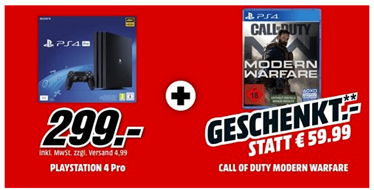 Bild zu Sony PlayStation 4 (PS4) Pro 1TB + Call of Duty: Modern Warfare für 299€ zzgl. eventuell 4,99€ Versand