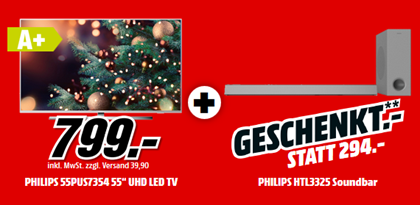 Bild zu PHILIPS 55 PUS 7354/12 LED TV (Flat, 55 Zoll/139 cm, UHD 4K, SMART TV, Ambilight, Android™ 9.0 (VG: 749,99€) + Philips HTL3325/10 (VG: 286,45€) ab 799€
