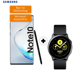 Bild zu [Top–Schnell] SAMSUNG Galaxy Note10 & Samsung Galaxy Watch Active 40mm + Galaxy Buds für 99€ mit 6GB LTE Datenflat und Sprachflat im Telekom Netz für 26,99€/Monat