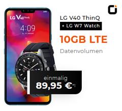 Bild zu LG V40 ThinQ + LG W7 Watch für 89,95€ (VG: 595,90€) mit Otelo Allnet Flat inkl. SMS Flat und 10GB LTE Datenflat im Vodafone Netz für 19,99€/Monat