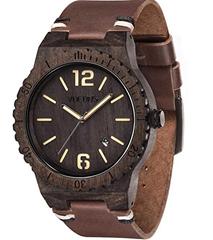 Bild zu VOEONS Holz Herren-Armbanduhr mit braunem Leder-Armband für 27,29€