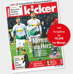 Bild zu [Top] 1 Jahr Kicker für 230,40€ lesen + 180€ Scheck als Prämie