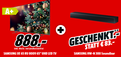 Bild zu SAMSUNG UE65RU8009UXZG LED TV (Flat, 65 Zoll/163 cm, UHD 4K, SMART TV) + SAMSUNG HW-N300 Soundbar für 888€