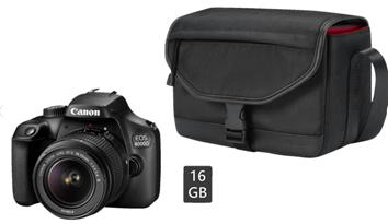 Bild zu [Top] CANON EOS 4000D Kit inkl. Tasche und 16 GB Speicherkarte Spiegelreflexkamera, 18 Megapixel, Full HD, 18-55 mm Objektiv (EF-S) für 199€