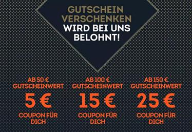Bild zu SportScheck: Geschenkgutschein ab 50€ Wert kaufen und bis zu 25€ Coupon erhalten (abhängig vom Wert)
