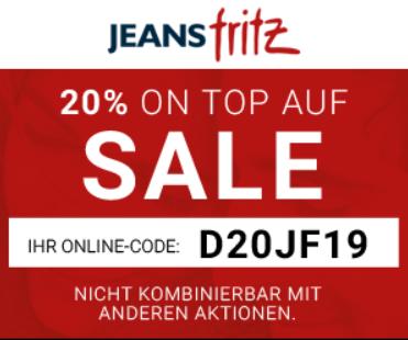 Bild zu Jeans Fritz: 20% Extra Rabatt auf alle bereits reduzierten Artikel im Sale