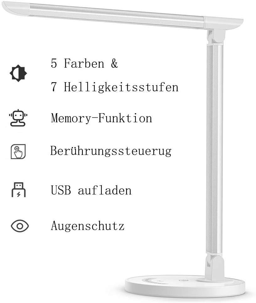Bild zu TaoTronics LED Schreibtischlampe mit 12 Watt und 5 Farb- bzw. 7 Helligkeitsstufen für 22,49€