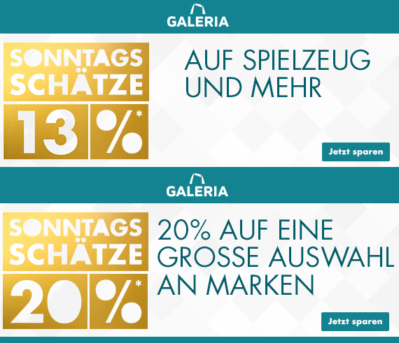 Bild zu Galeria DE Sonntags-Schätze, so z.B. 13% Rabatt auf Spielzeug und mehr