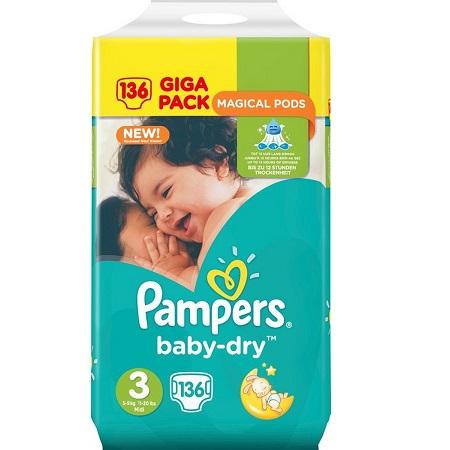 Bild zu 136 Stück Pampers Baby Dry Midi (Größe 3) für 21,90€ (Vergleich: 27,94€)