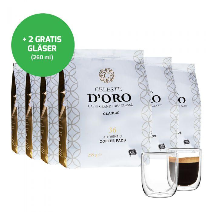 Bild zu [nur heute] 216 Celeste d'Oro Senseo Pads und 2 doppelwandige Kaffeegläser für 36,99€