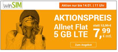 Bild zu WinSIM: monatlich kündbaren Vertrag im o2-Netz mit 5GB LTE Datenflat, SMS und Sprachflat für 7,99€/Monat