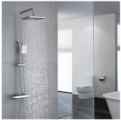Bild zu Umi Duschsystem mit Thermostat (Regendusche) inkl. verstellbarer Duschstange & Handbrause für 139,99€