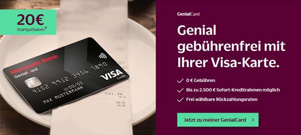 Bild zu GenialCard schwarze Visa Karte mit 20€ Gutschrift – gebührenfrei und mit Sofortentscheidung (inkl. Apple Pay)