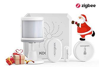 Bild zu Koogeek Alarm-Starterkit mit Gateway, Bewegungssensor, Türsensor und Temperatursensor (Alexa & Google kompatibel) für 49,99€
