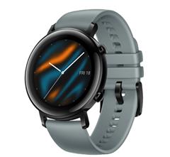 Bild zu HUAWEI Watch GT 2 42mm Sport Smartwatch, Fluorkautschuk, 130-200 mm, Blaugrau für 162€ (VG: 192,99€)